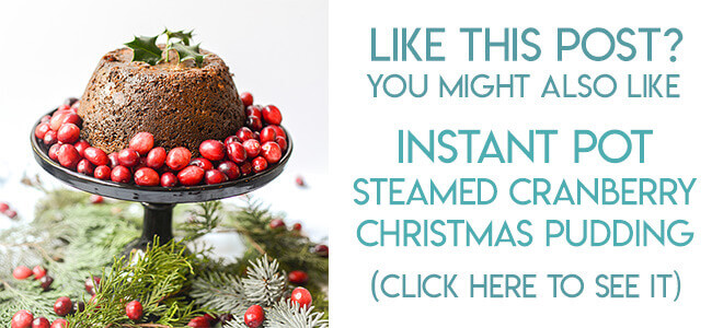 navigational image leading reader to Instant Pot cranberry Christmas pudding recipe.