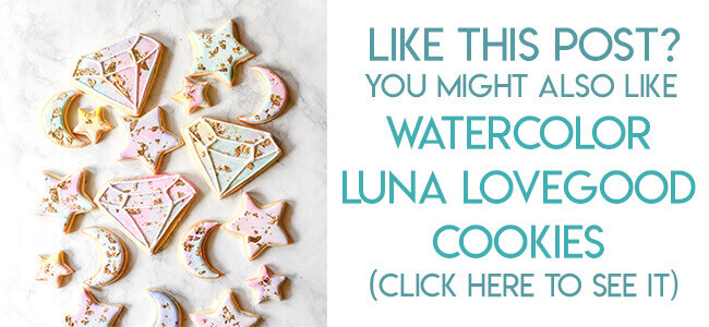 Navigational image leading reader to Luna Lovegood watercolor and gold leaf sugar cookies.