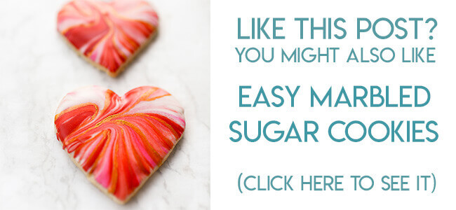 Navigational image leading reader to marbled heart sugar cookie decorating tutorial.
