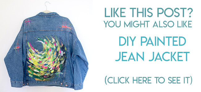 navigational image leading reader to tutorial for hand painted denim jacket.