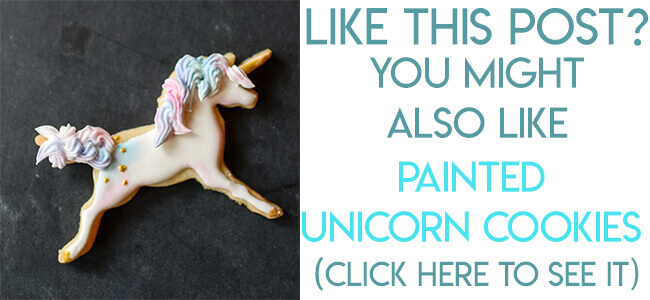 Navigational image leading reader to unicorn sugar cookie decorating tutorial.