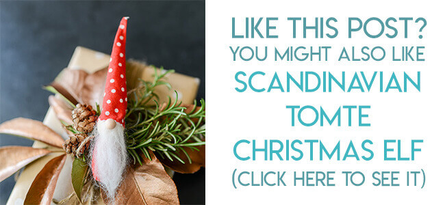 Navigational image leading reader to tutorial for Scandinavian Tomte Christmas ornament.
