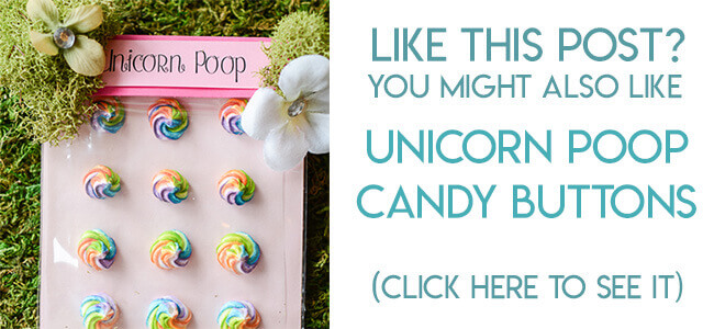 Navigational image leading reader to unicorn poop candy buttons tutorial