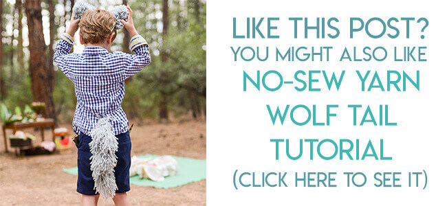 Navigational image leading reader to no sew wolf or dog tail costume tutorial