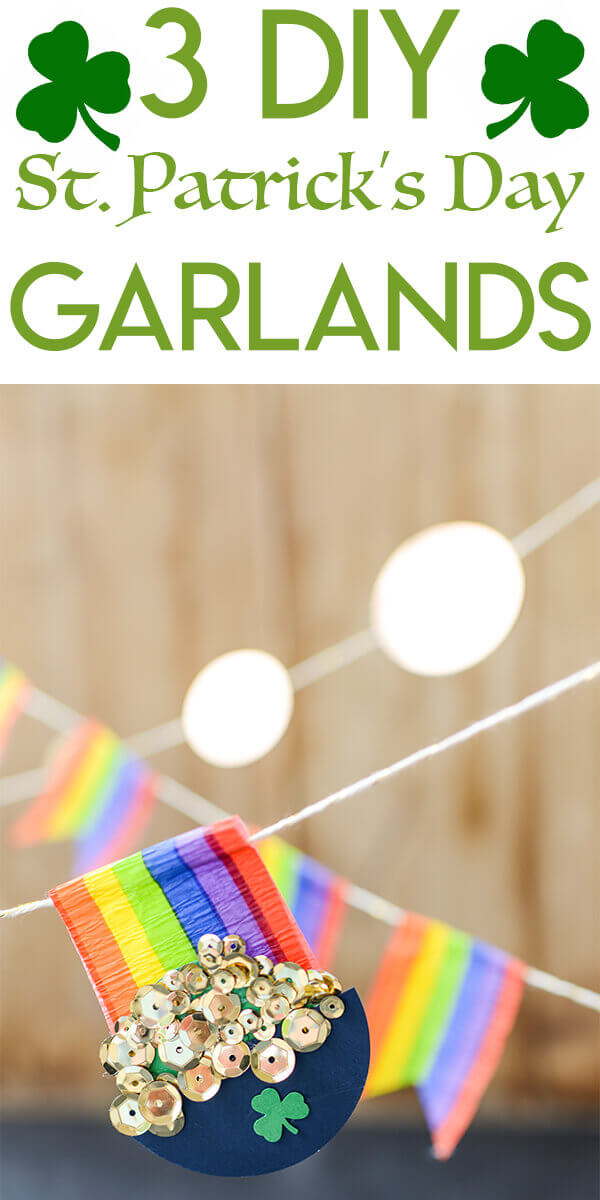 Pinterest optimized collage with three rainbow and pot of gold garlands