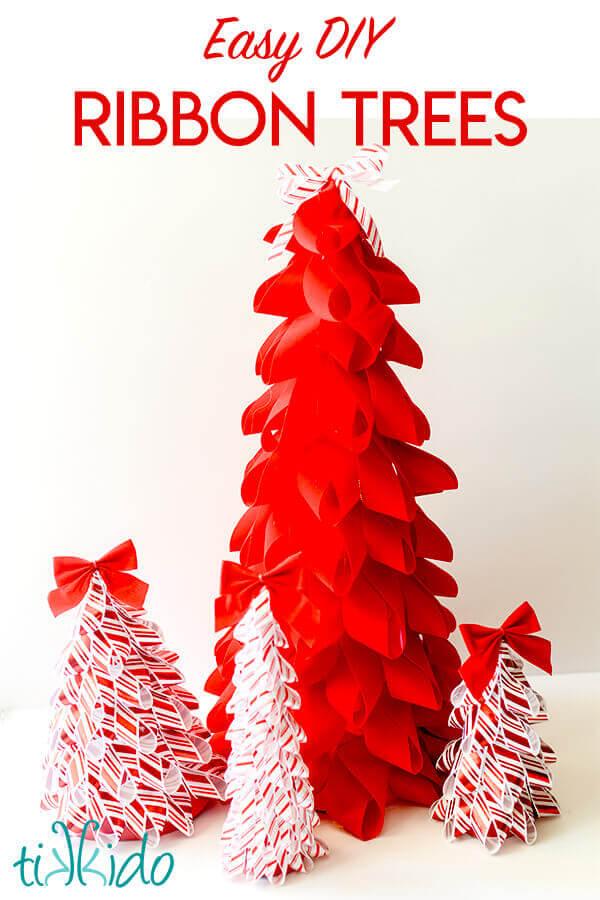 Easy Diy Ribbon Christmas Trees Holiday Decor Tikkido Com