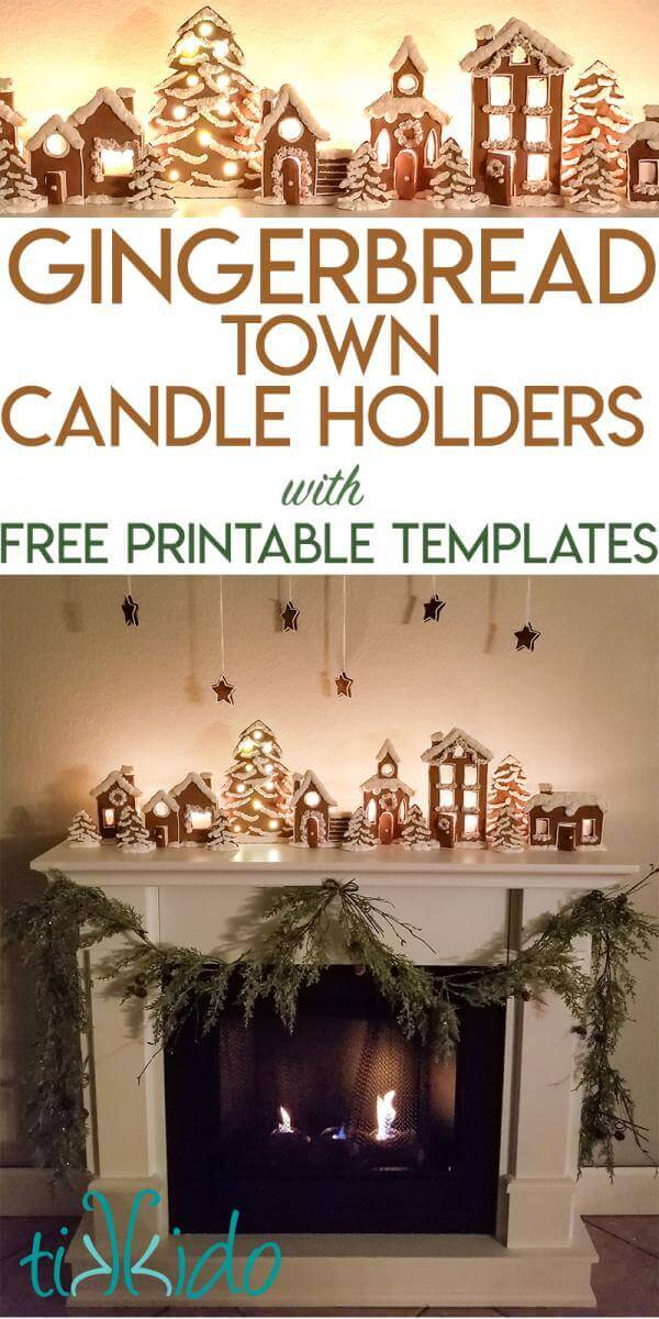 Gingerbread Town Candle Holders Christmas Mantle Tutorial with Free ...