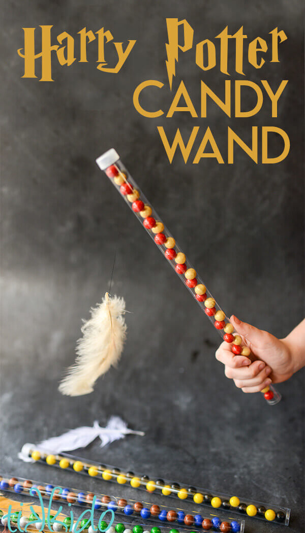 Tutorial for Harry Potter candy wand complete with magical levitating feather!