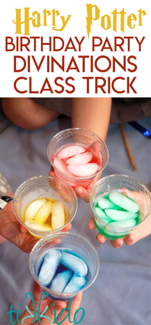 Four clear plastic cups filled with yellow, red, green, and blue liquid and ice, held by four different hands. With text optimized for pinterest.
