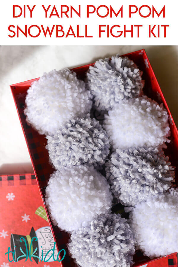 Yarn pom poms make the best DIY snowballs in this snowball fight kit.