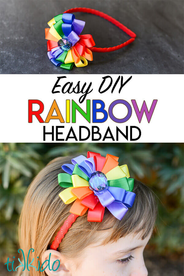 DIY Headband made with rainbow colored ribbon flower.