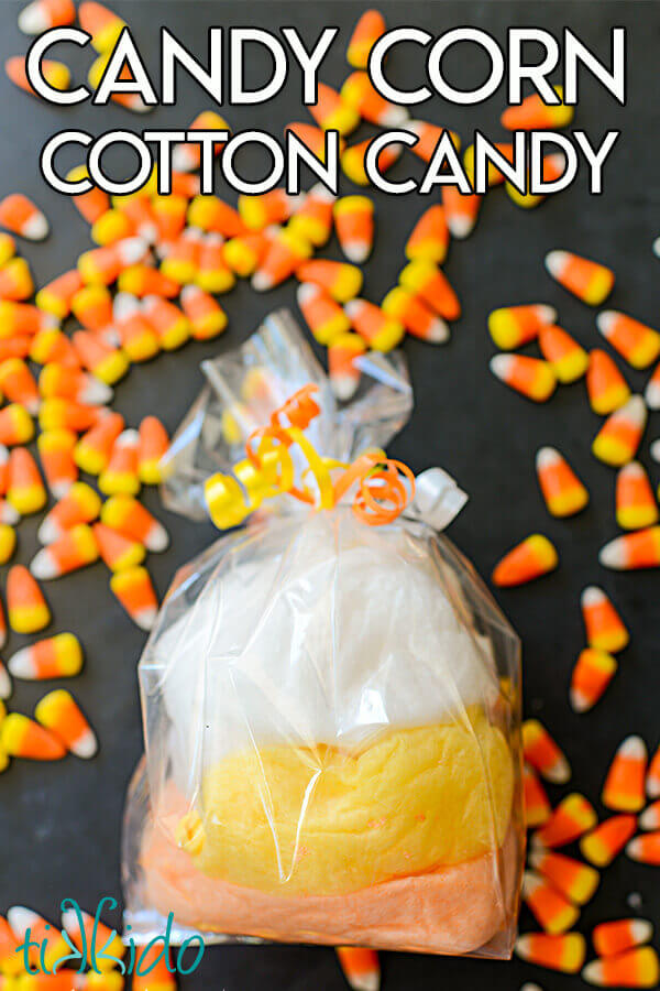 Cotton candy in candy corn colors for Halloween