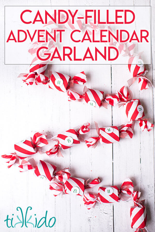 DIY Advent Calendar Christmas Garland that looks like a string of peppermint candies.