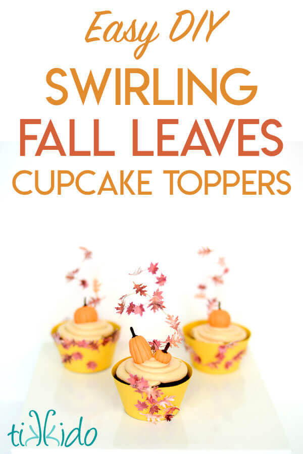 Cupcake toppers that look like swirling fall leaves.