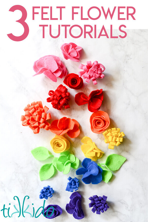 Tutorial for making three different styles of felt flowers, including a spiral rose, carnation