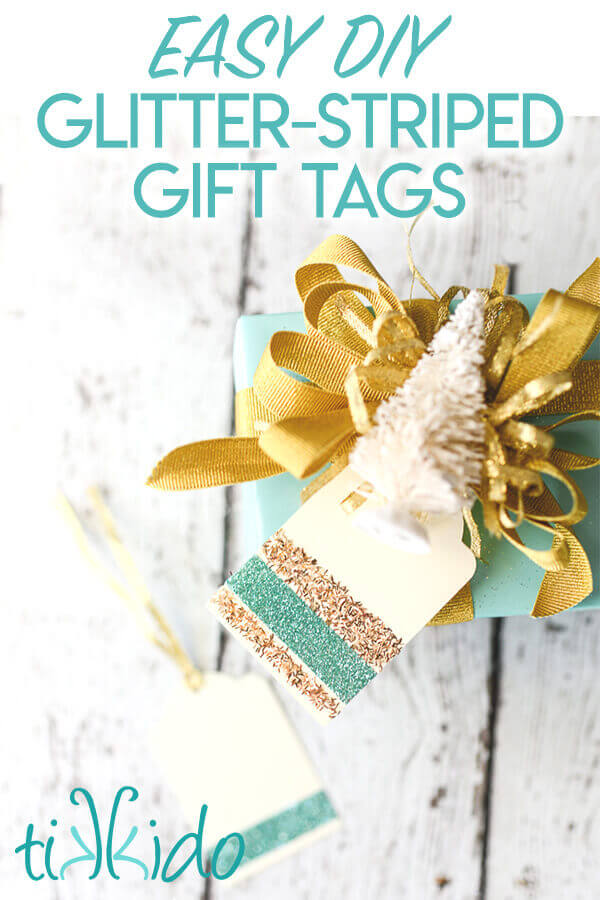 DIY Gift Tags decorated with stripes of glitter on a Christmas present.