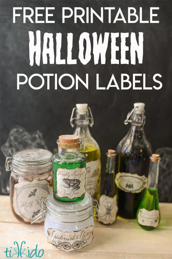 image regarding Printable Halloween Labels known as Creepy Potions Bottles with Free of charge Printable Labels and a