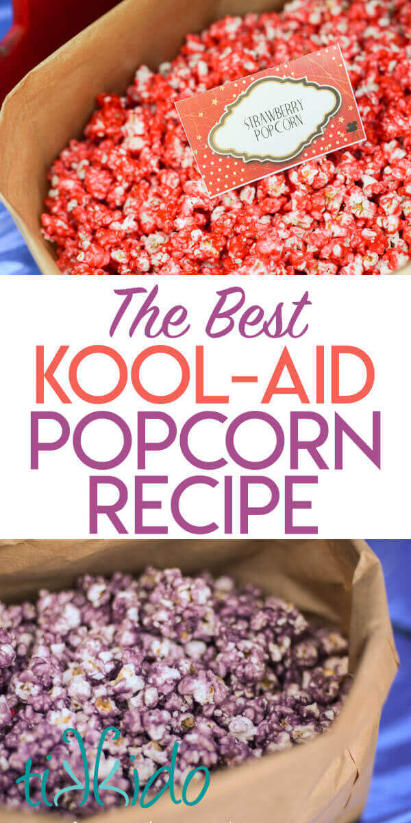 Colorful, fruit flavored candied popcorn recipe makes the best colored popcorn.