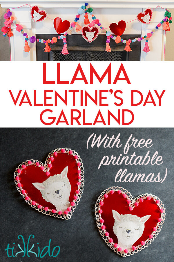 photo relating to Valentine's Day Printable Decorations named Do-it-yourself Llama Valentines Working day Garland (with Free of charge Printable