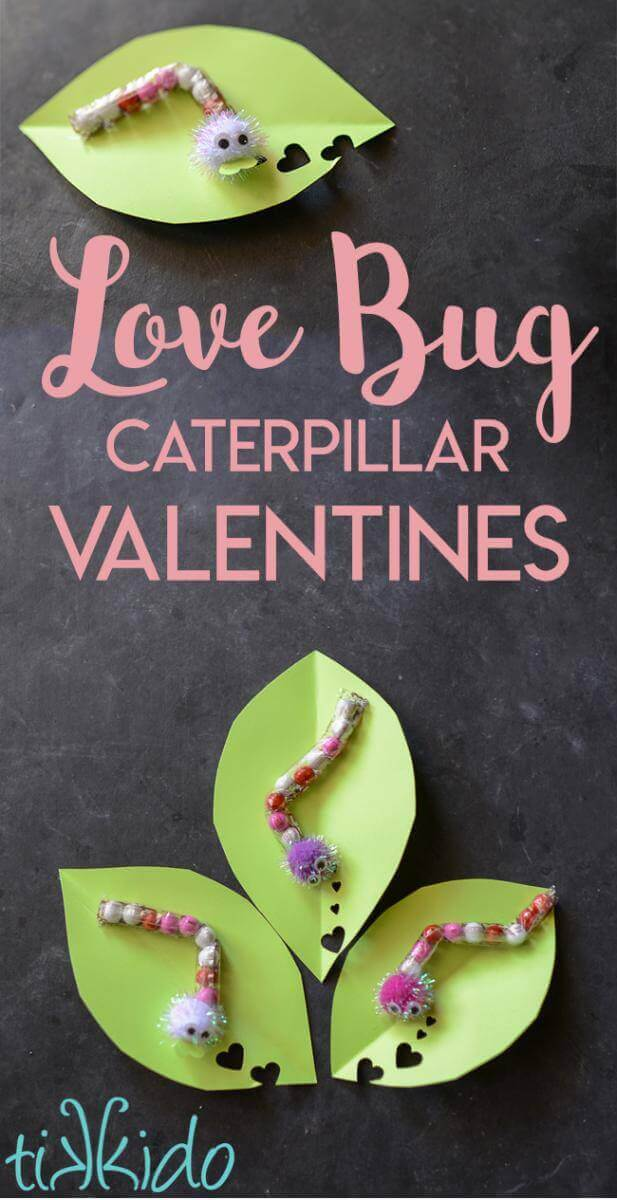 Love Bug chocolate sixlet caterpillar on paper leaf valentine tutorial