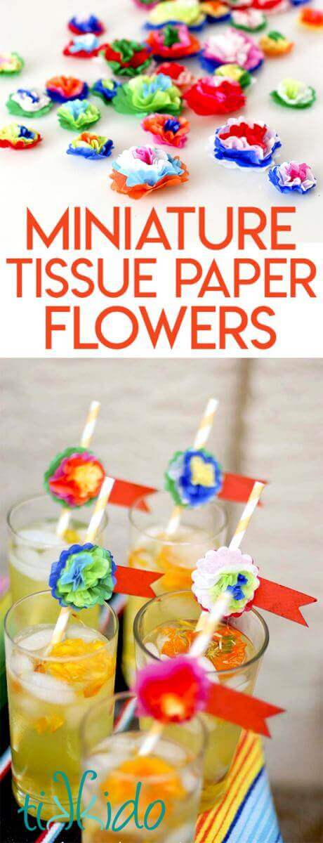 Colorful Mexican style miniature tissue paper flowers collage optimized for Pinterest.