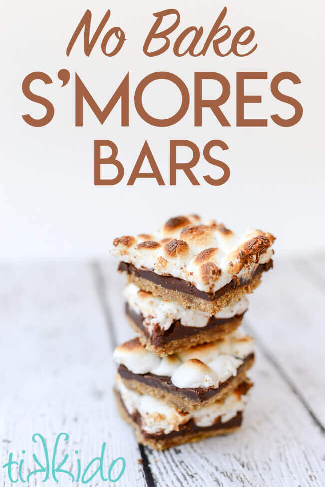 No bake smores bars are delicious and so easy to make!  Chocolate, marshmallow, and graham cracker deliciousness without the open fire.
