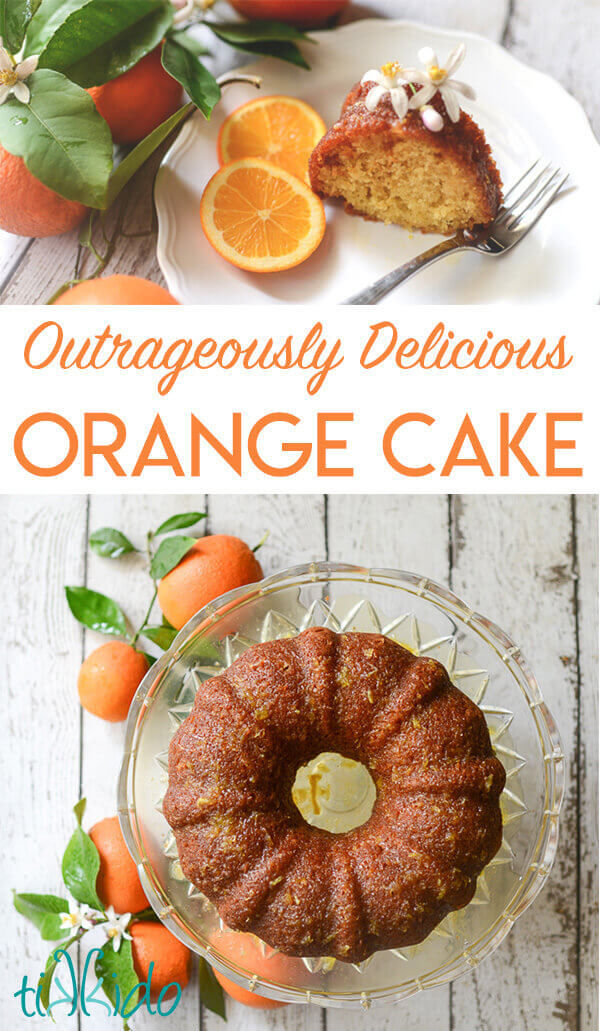 Orange bundt cake surrounded by oranges, orange tree branches, and orange blossoms.