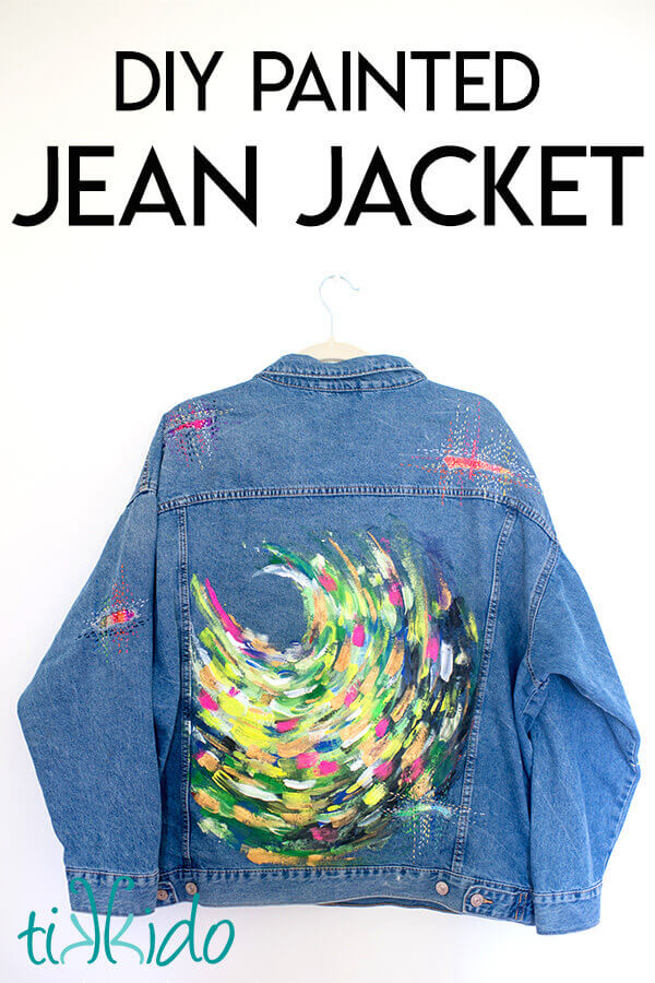 Painted denim jacket painted with bright acrylic Stuart Semple paints.