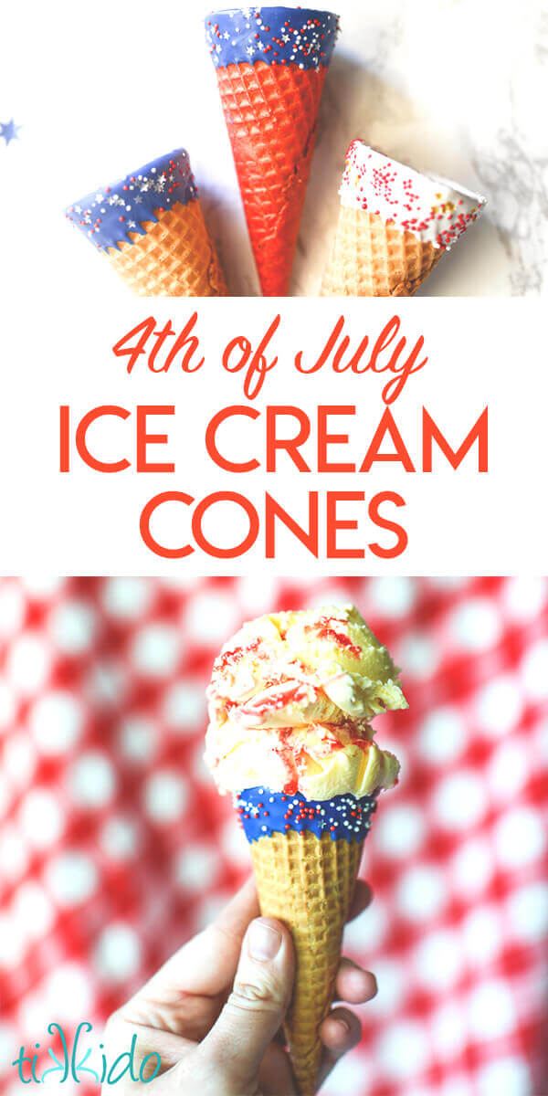 Tutorial for taking plain ice cream cones and decorating them in edible red, white, and blue decorations for the 4th of July or Memorial day.
