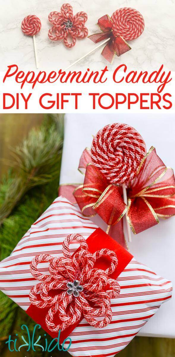 Diy Gift Toppers And Gift Tags That Look Like Peppermint Candies