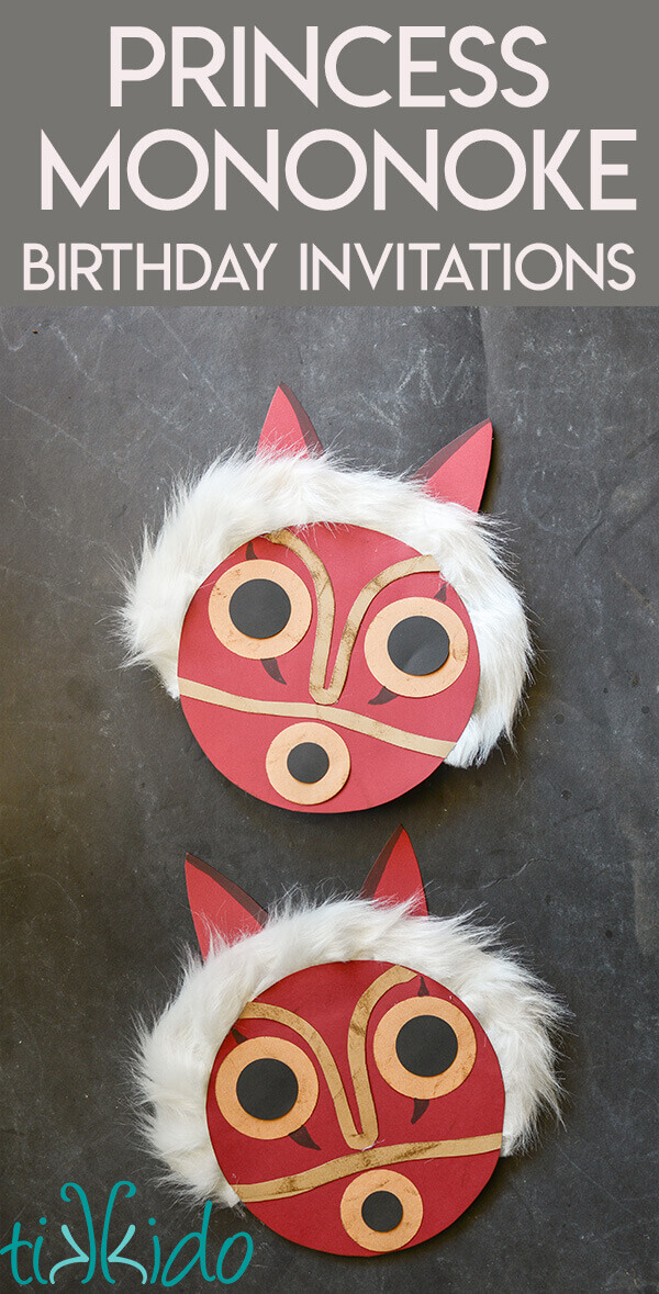 Princess Mononoke Birthday Invitations Made Out Of Cardstock And Faux Fur Fabric
