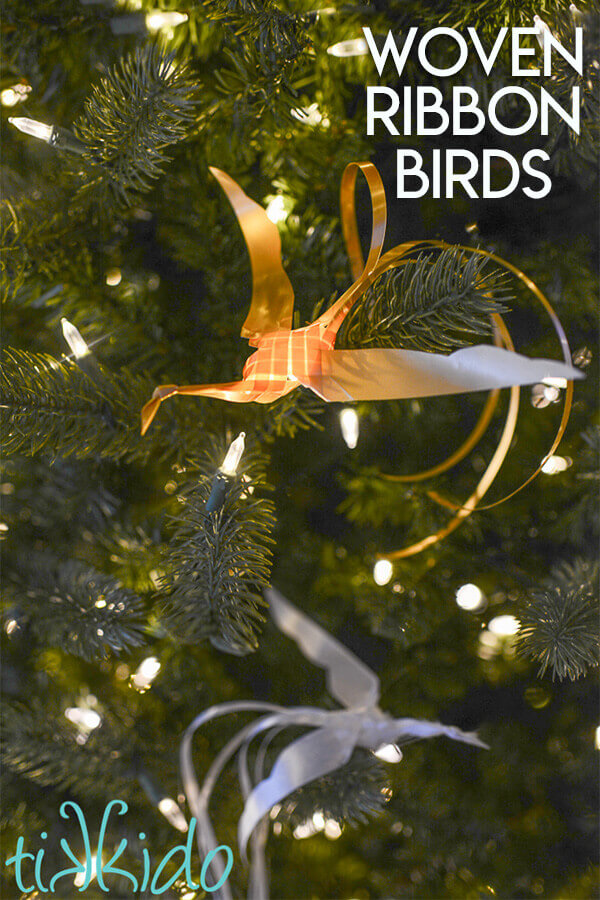 Make delicate, intricate woven birds out of gift wrapping ribbon with this tutorial.  Use as a gift topper or Christmas present.