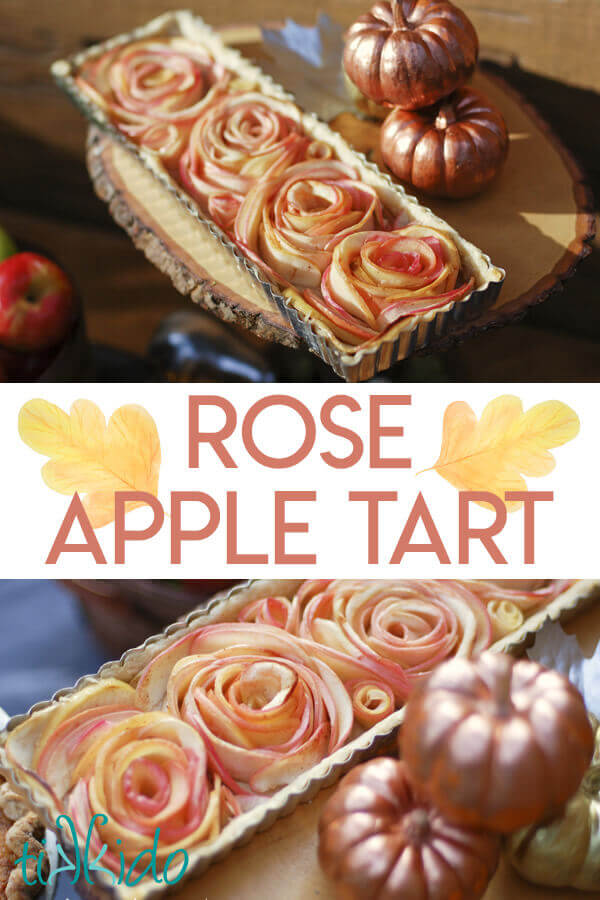 Gorgeous apple tart with apples shaped into roses.