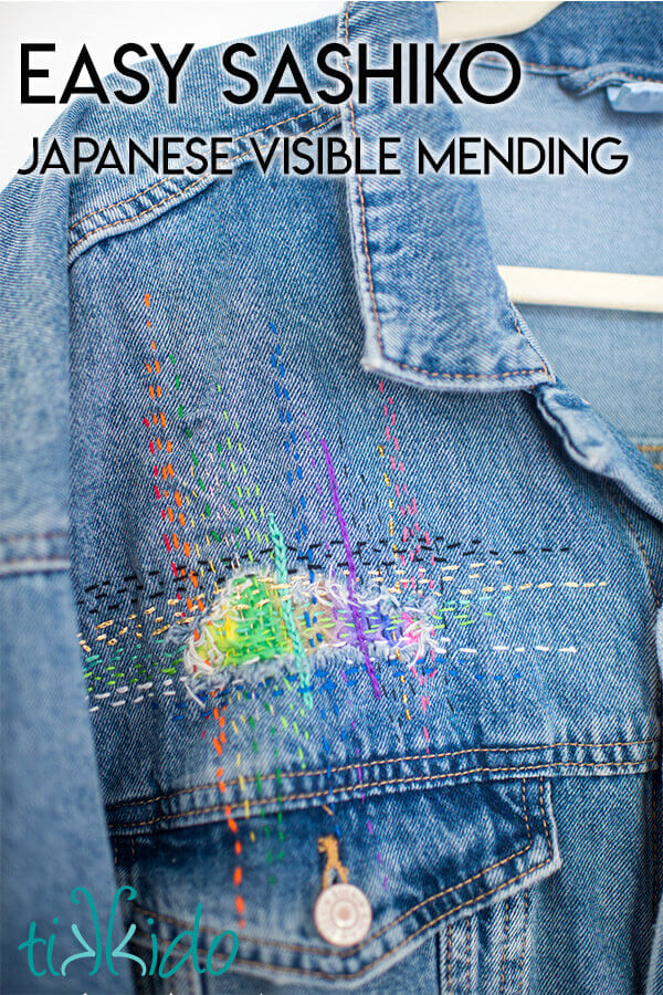 Sashiko mending (Japanese visible mending) technique embroidered in a rainbow of colors.