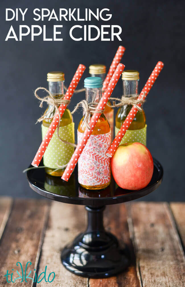 DIY sparkling apple cider in miniature bottles