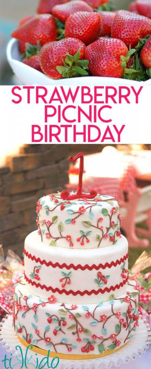 Strawberry Picnic Birthday collage of images optimized for pinterest.