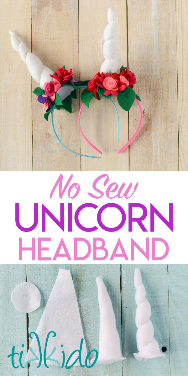 Tutorial for making an easy, no sew, felt unicorn horn headband.