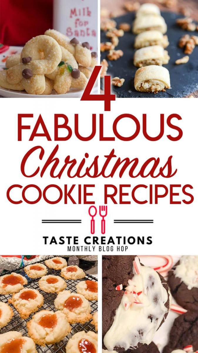 Collage of Christmas cookie recipes from the Taste Creations Blog Hop.