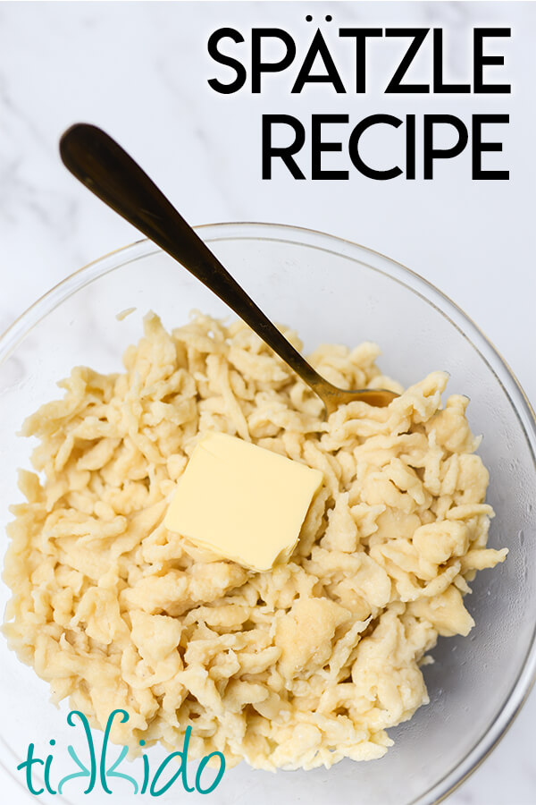 Bowl of homemade spaetzle made with an easy spaetzle recipe.