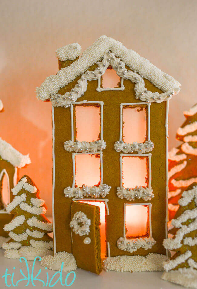 photograph relating to Printable Christmas Village Template titled Gingerbread City Candle Holders Xmas Mantel Guidebook