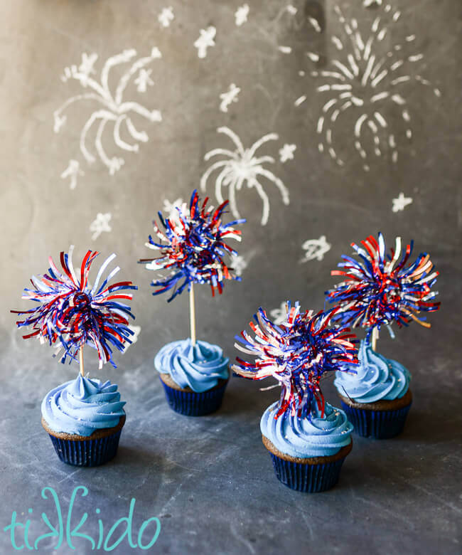 Fireworks cupcake toppers for 4th of July cupcakes