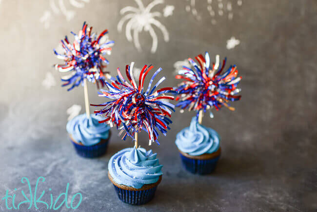 Red, white, and blue fireworks cupcake toppers for 4th of July cupcakes.