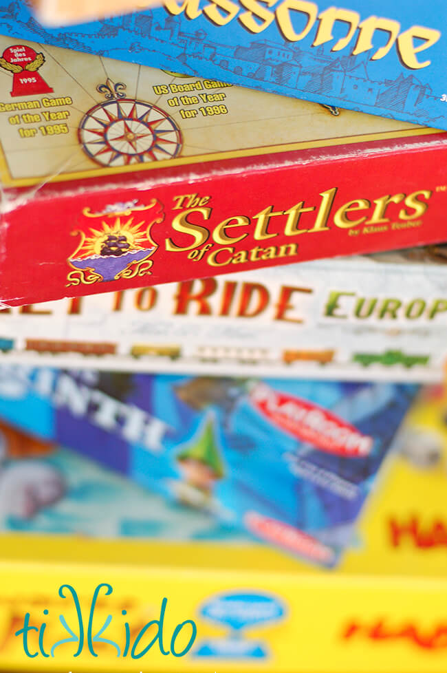 Stack of euro style board games that are great for the whole family.