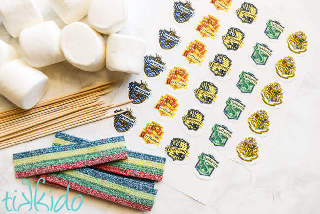 Materials for Harry Potter Candy Kebabs