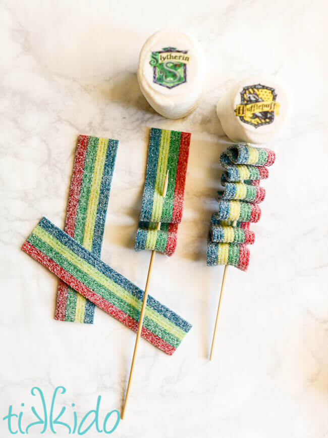 Harry Potter Candy Kebabs being assembled