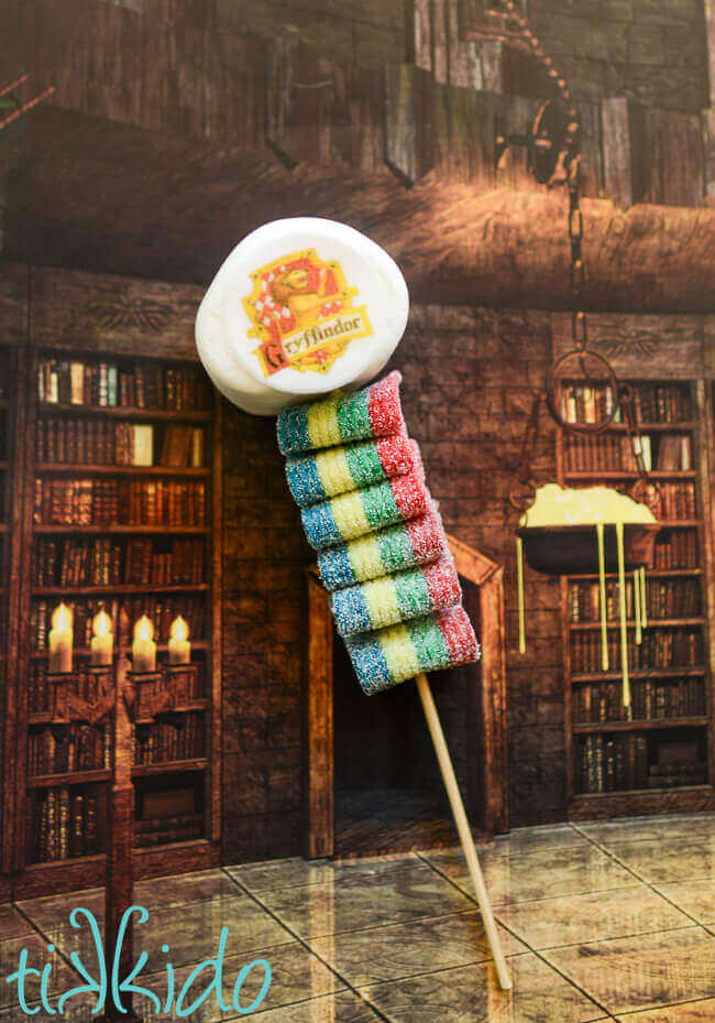 Harry Potter Candy Kebab topped with a marshmallow decorated with the Gryffindor house crest.