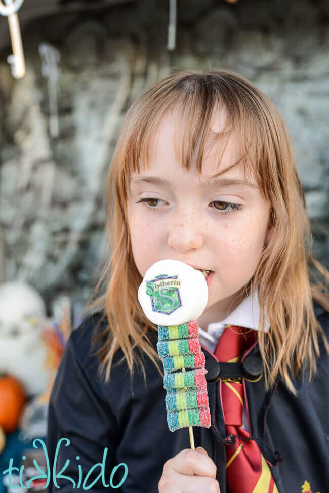 Little girl eating a Harry Potter Candy Kebab with the Slytherin house crest.