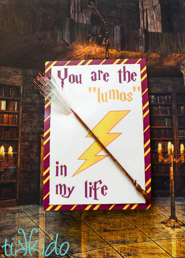Printable Harry Potter LED Light up valentine on a background that looks like hogwarts.