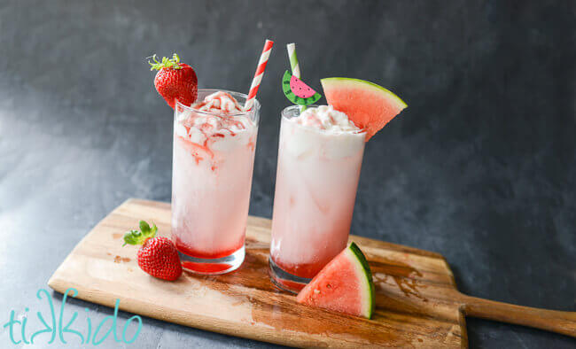Homemade strawberry and watermelon Italian Cream Sodas