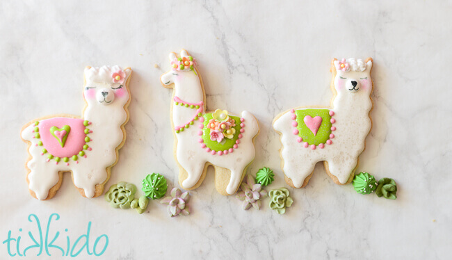 Three cute llama or alpaca sugar cookies decorated with royal icing on a white marble background.